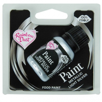 Speisefarbe Paint Metallic Silber light 25ml. Rainbow Dust